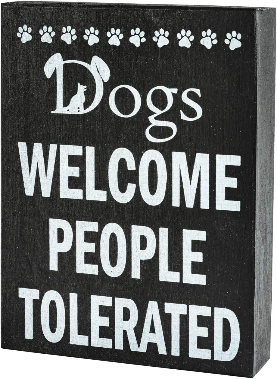 JennyGems Dogs Welcome People Tolerated | Funny Dog Signs | Pet Lovers | Dog Mom Gifts for Women | Pet Mom