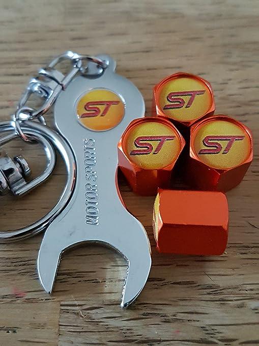 Tapas de guardapolvo de rueda naranja Eurotech ST FORD para las válvulas con cromo llave llavero