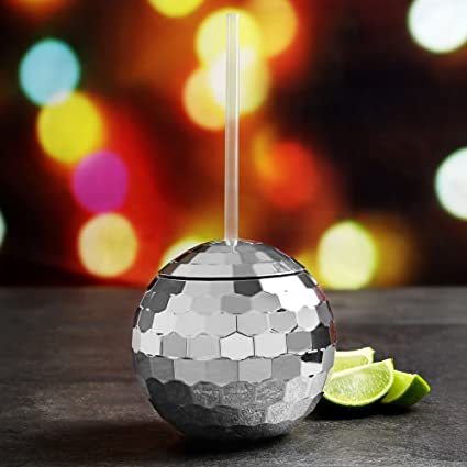 c30c2bd27d37 bar drinkstuff Disco Ball Cocktail Cup 1 Pint - Set of 2 - Gift Boxed  Novelty Plastic Mirror Ball Style Mug with Lid and Straw  Amazon.co.uk   Kitchen   Home