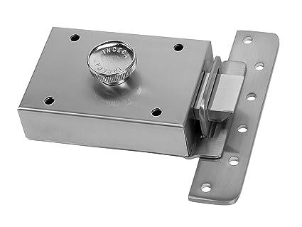 Inceca 3650005 - Cerradura de sobreponer contra palanca y pomo, derecha (acero, bombillo