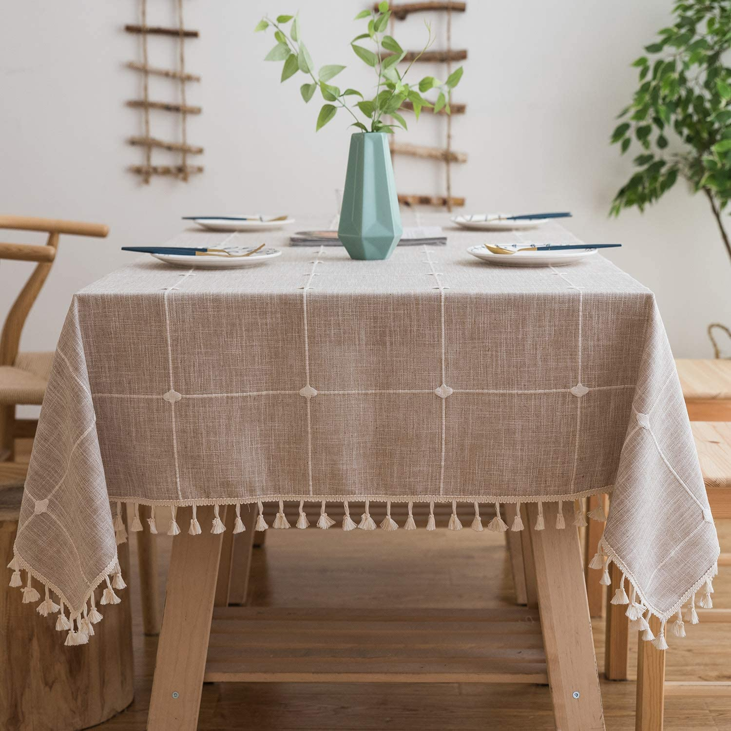 Mokani Washable Cotton Linen Solid Embroidery Checkered Design Tablecloth, Rectangle Table Cover Great for Kitchen Dinning Tabletop Buffet Decoration (55 x 94 Inch, Brown)