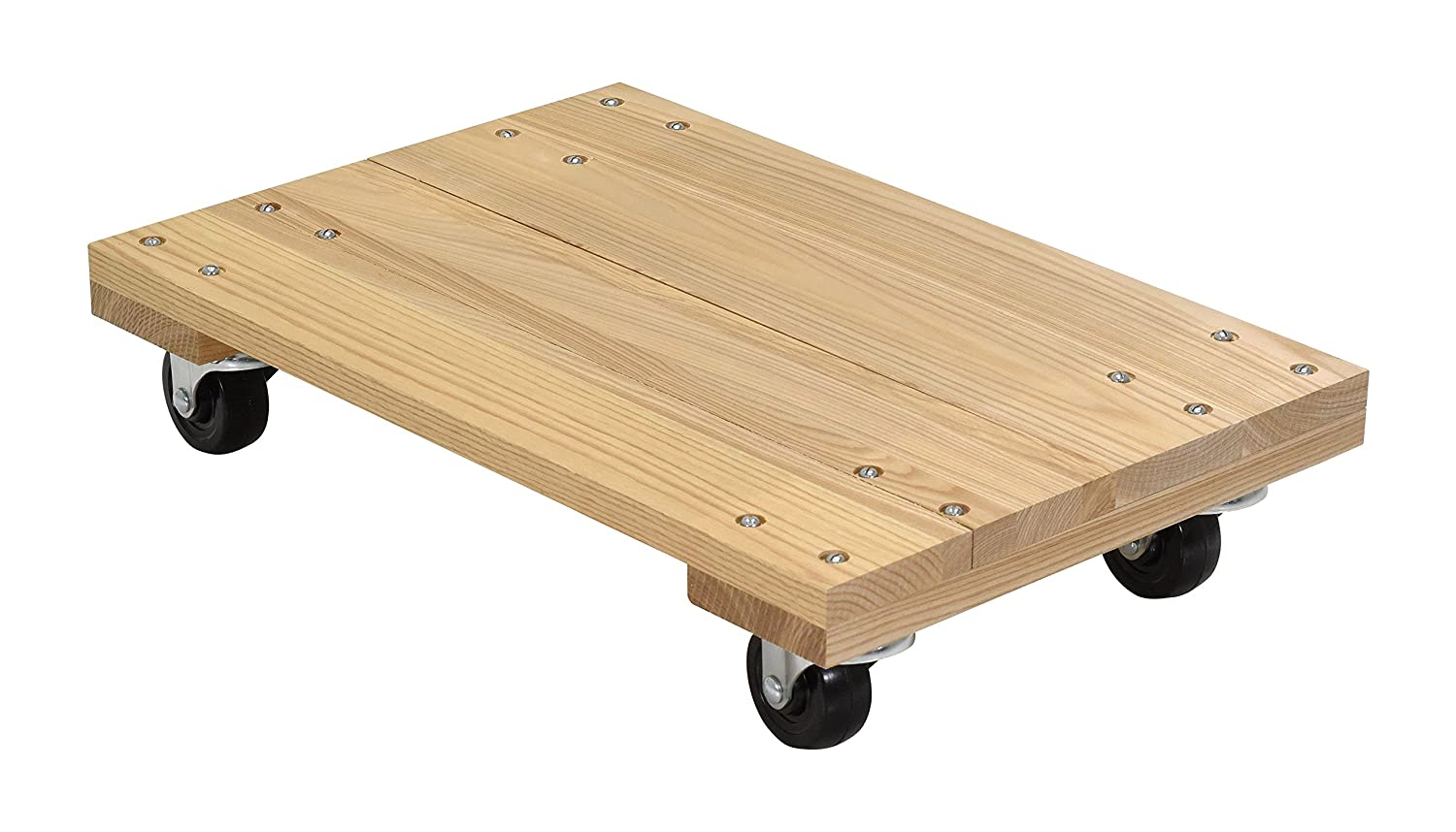 Vestil HDOS-1624-9 Solid Deck Hardwood Dolly with Hard Rubber Casters, 900 lbs Capacity, 24