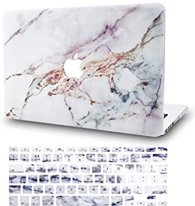 """KECC Laptop Case for MacBook Pro 16"""" (2020/2019) w/Keyboard Cover Plastic Hard Shell Case A2141 Touch Bar 2 in 1 Bundle (White Marble 4)"""