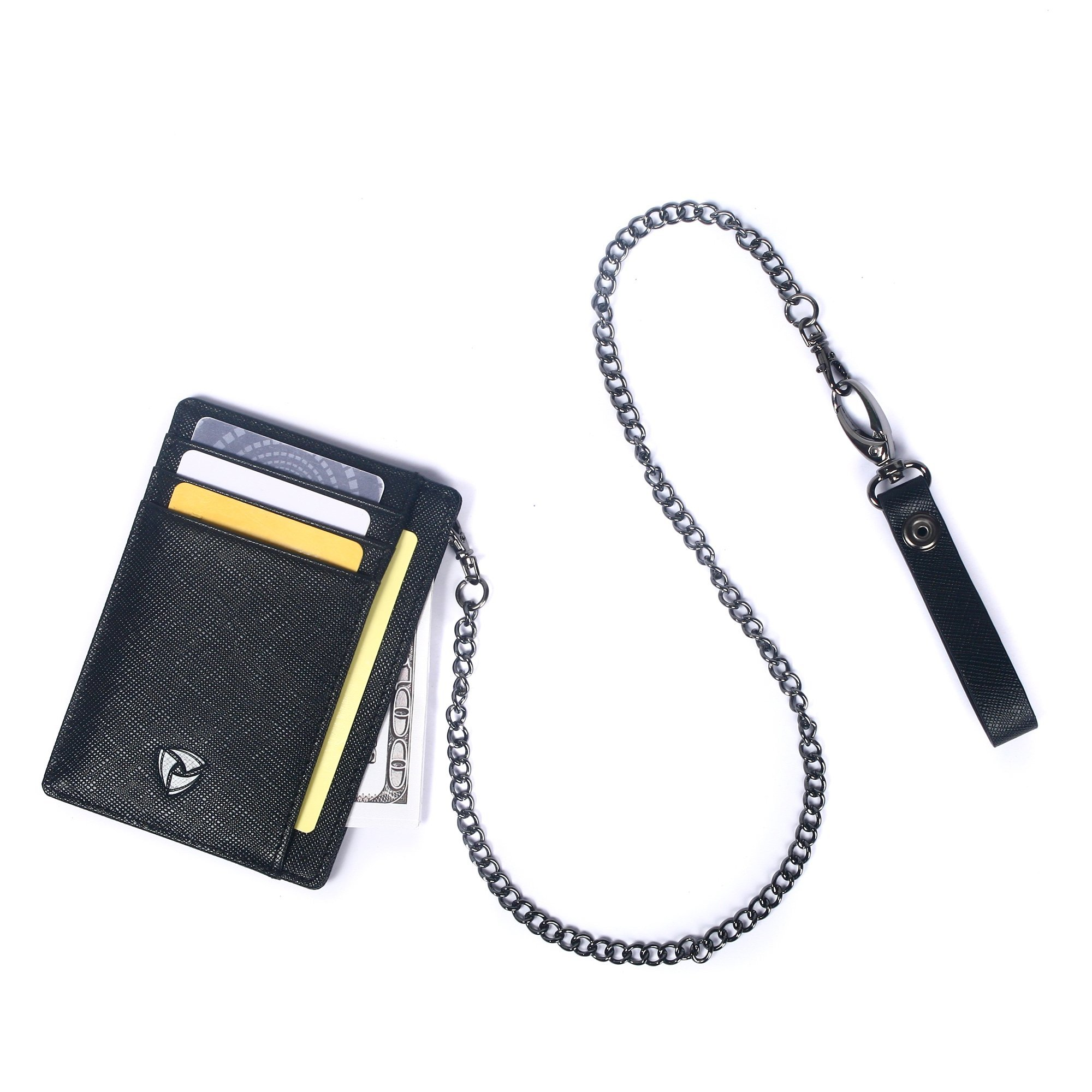 SOS EDC Minimalist Saffiano Leather RFID Blocking Anti-theft Wallet with Removable Chain by SOS EDC