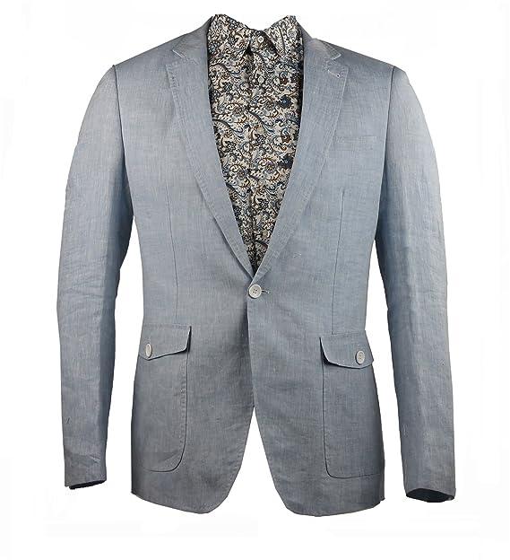Para hombre 100% lino azul claro para trajes chaqueta Blazer corte ajustado bolsillos de parche Summer: Amazon.es: Ropa y accesorios