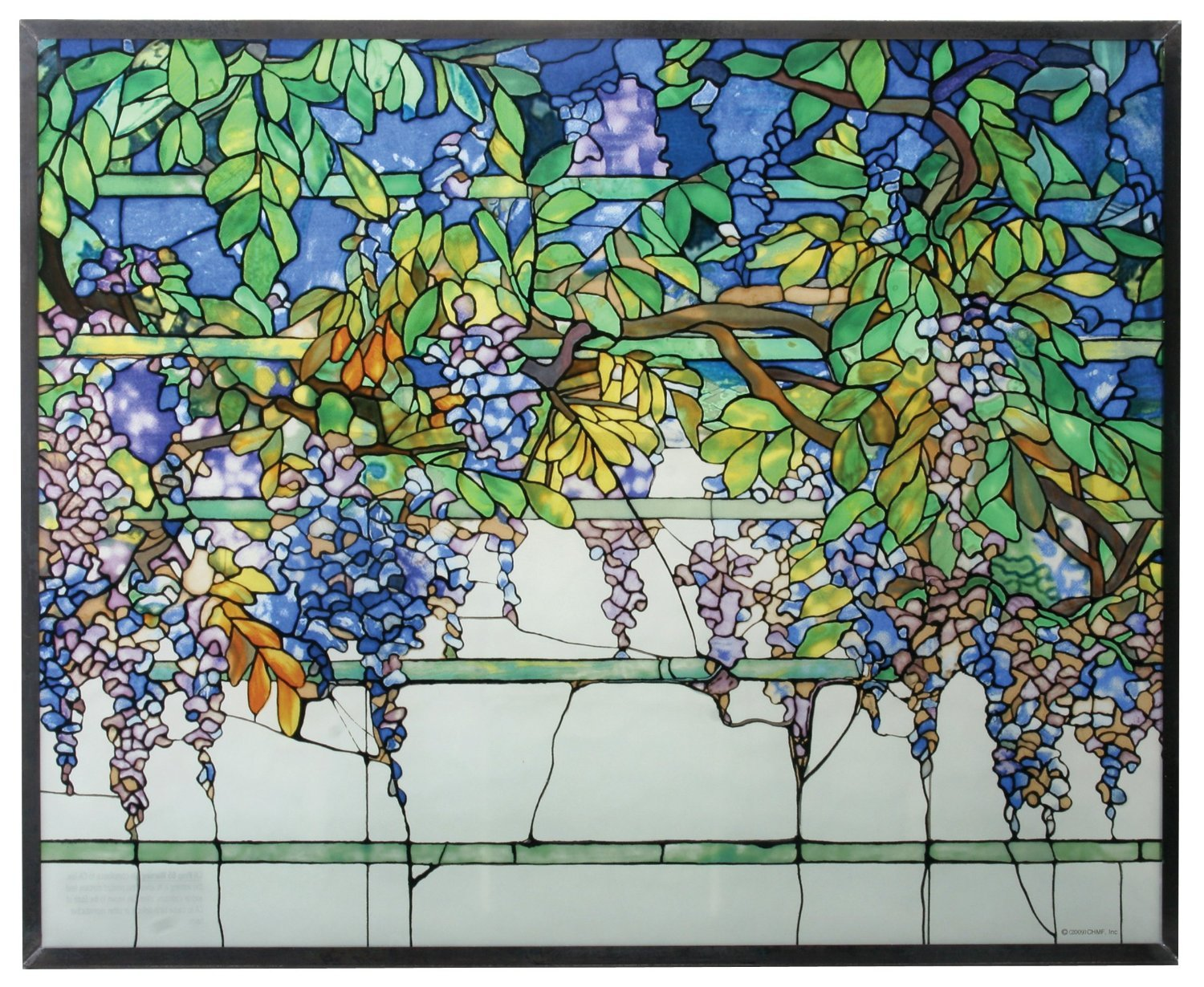 Tiffany Wisteria Art Glass Panel - stained glass wall art