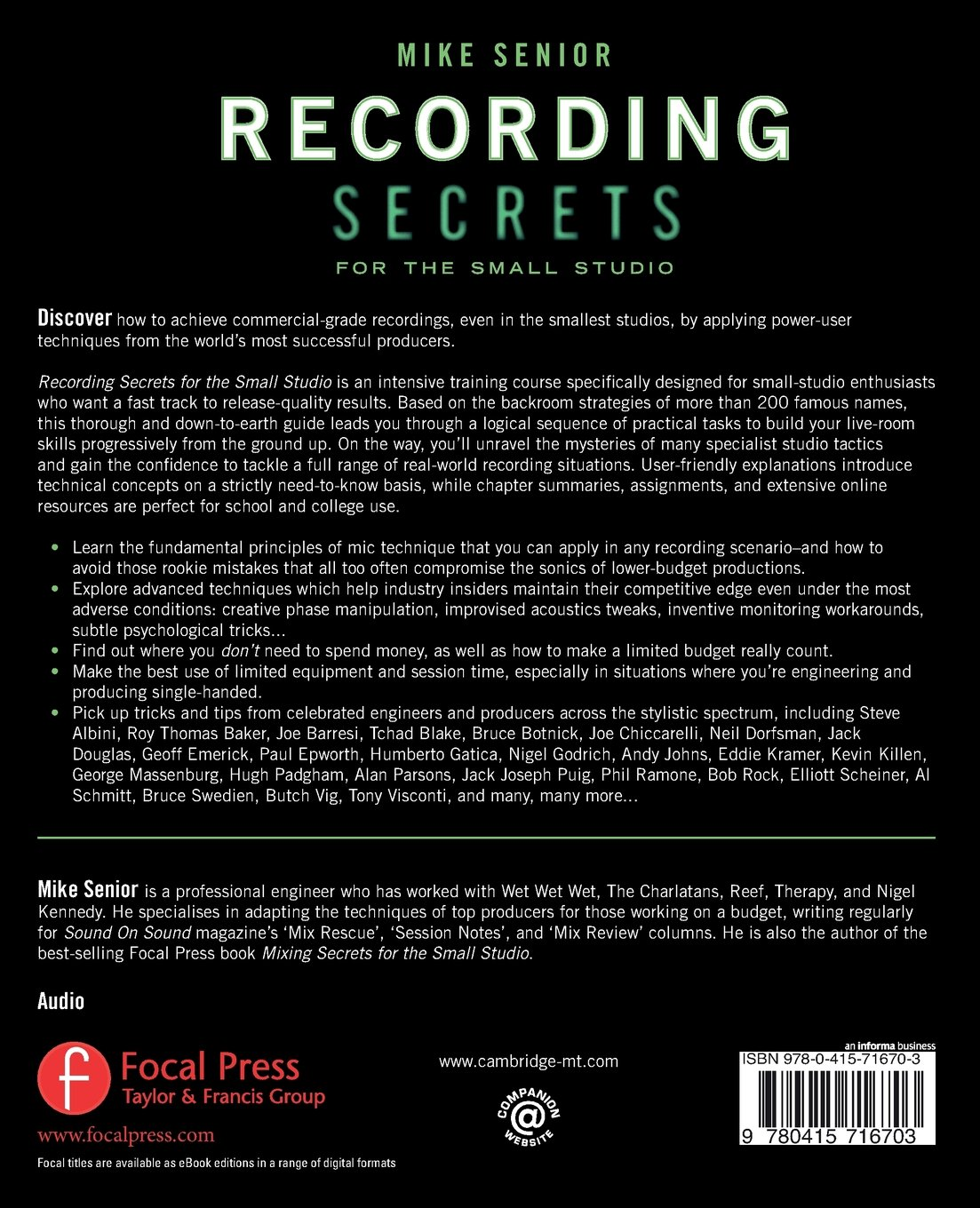 Recording secrets for the small studio mike senior 8601411316104 recording secrets for the small studio mike senior 8601411316104 books amazon fandeluxe Image collections