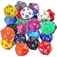 TecUnite Conjunto de Dados Poliédricos de 25 Piezas con Bolsa Negra para DND RPG MTG y Otros Juegos de Mesa con Surtiddo Azar (D20)