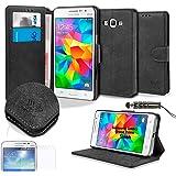 SAVFY Samsung Galaxy Grand Prime Hülle SM-G530FZ Flip Cover Schutzhülle mit Eingabestift + Schutzfolie (Retro-Schwarz)
