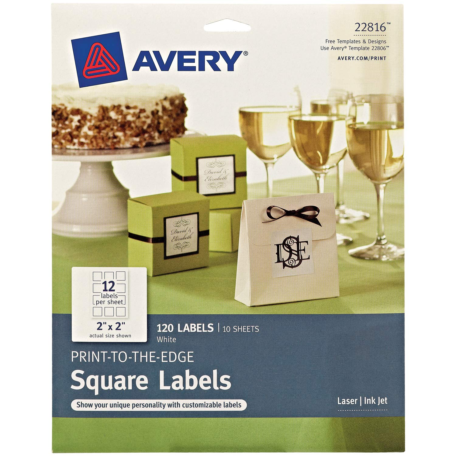 "Avery Square Labels for Laser & Inkjet Printers, Print-to-The-Edge, 2"" x 2"", 120 Labels (22816)"