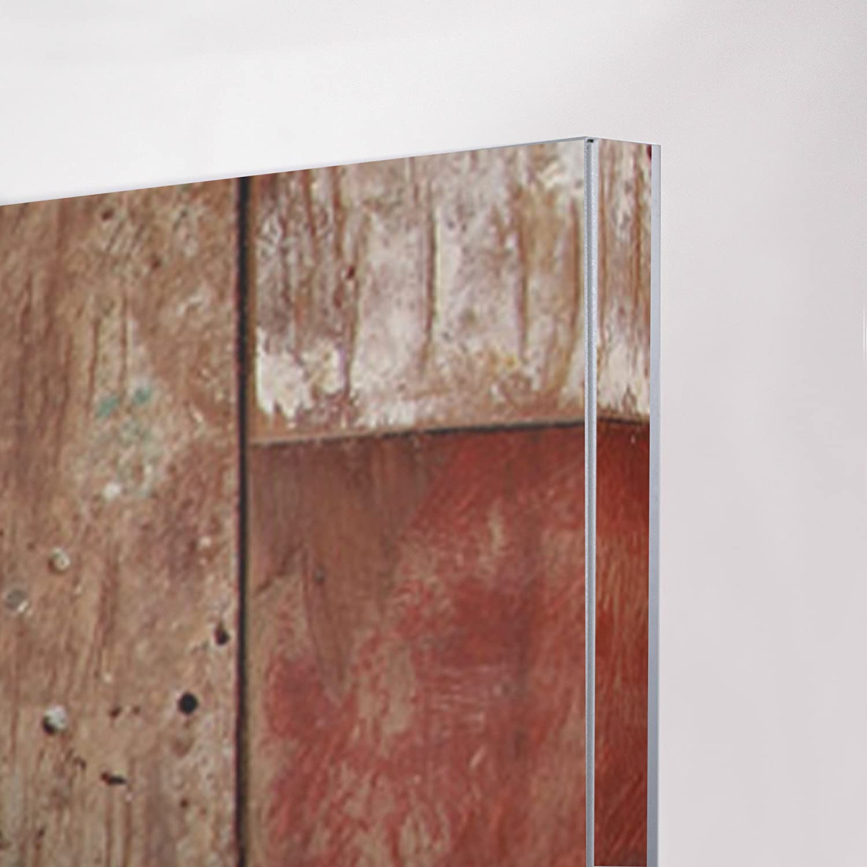 Memoboard mit Magneten und Montageset Motiv Buntes Holz Metall Pinnwand banjado Design Magnettafel grau Wandtafel magnetisch 37x78cm gro/ß