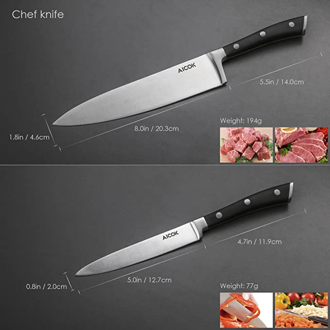 Cuchillos cocina Aicok, Cuchillos de Cocinero, Tres Piezas de Cuchillos Ergonómicos de Acero Inoxidable con Mango Negro y un Cuchillo de Pelar