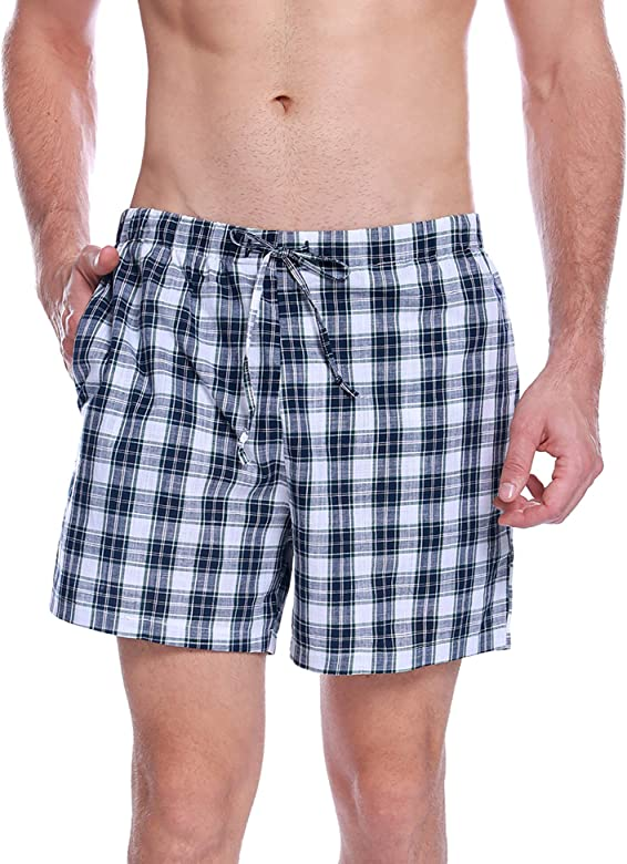 Aibrou Pantalon de Pijama Hombre Corto de Algodon Pantalón de Casa ...