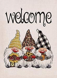 Covido Welcome Fall Gnomes Home Decorative Garden Flag, Autumn House Yard Tomte Decor Outdoor Small Flag Buffalo Plaid Check Leopard Sunflower Pumpkin Acorn Sign Thanksgiving Outside Decoration 12x18
