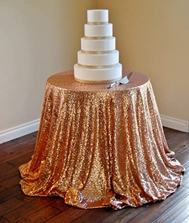 Rose Gold Sequin Table Cloth, Shimmer Sparkly Overlays Tablecloths For  Wedding (108u0027u0027