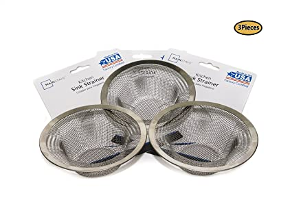 3 PCS Stainless Steel Sink Strainer.Made in USA.Fits standard size ...