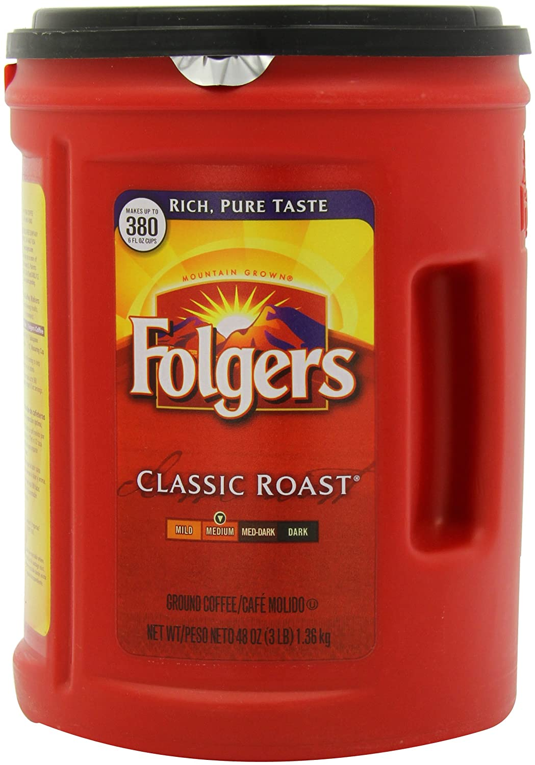 Folgers Coffee, Classic Roast, 48 Ounce (Pack of 12)
