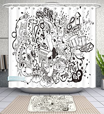 Amavam Bathroom 2 Piece Suit Abstract Music Background Collage With Musical Instruments Hand Drawing Doodle Illustration Shower Curtains And Bath Mats Set 66 Wx72 H 23 Wx16 H Amazon Co Uk Kitchen Home
