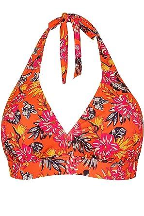 Yours Clothing Women/'s Plus Size Orange Tropical Floral Print Swimsuit