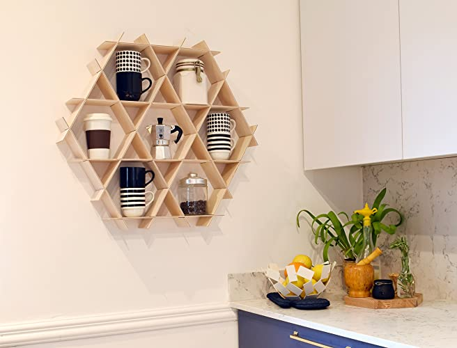 Merveilleux Amazon.com: Wood Kitchen Floating Shelves, Hexagon Wall Shelf, Coffee Mug  Rack, Display Shelving Unit   Medium Ruche Shelves: Handmade