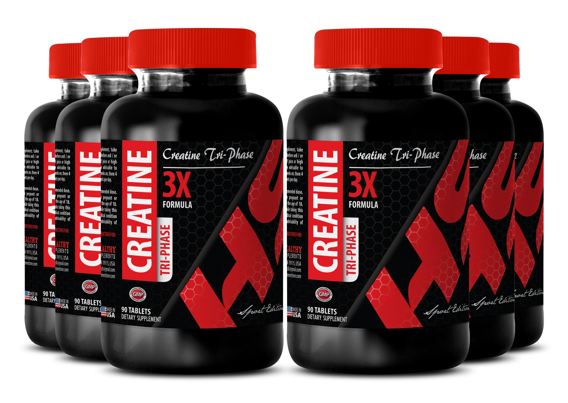Creatine monohydrate capsules 1 gram - CREATINE TRI-PHASE 5000MG - athletic performance booster (6 Bottle)