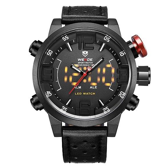 Reloj para hombre, correa de cuero genuino de lujo, LED, analógico, cuarzo
