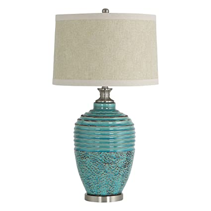 Amazon Com Aspire Beta Teal Ceramic Table Lamp Home Kitchen