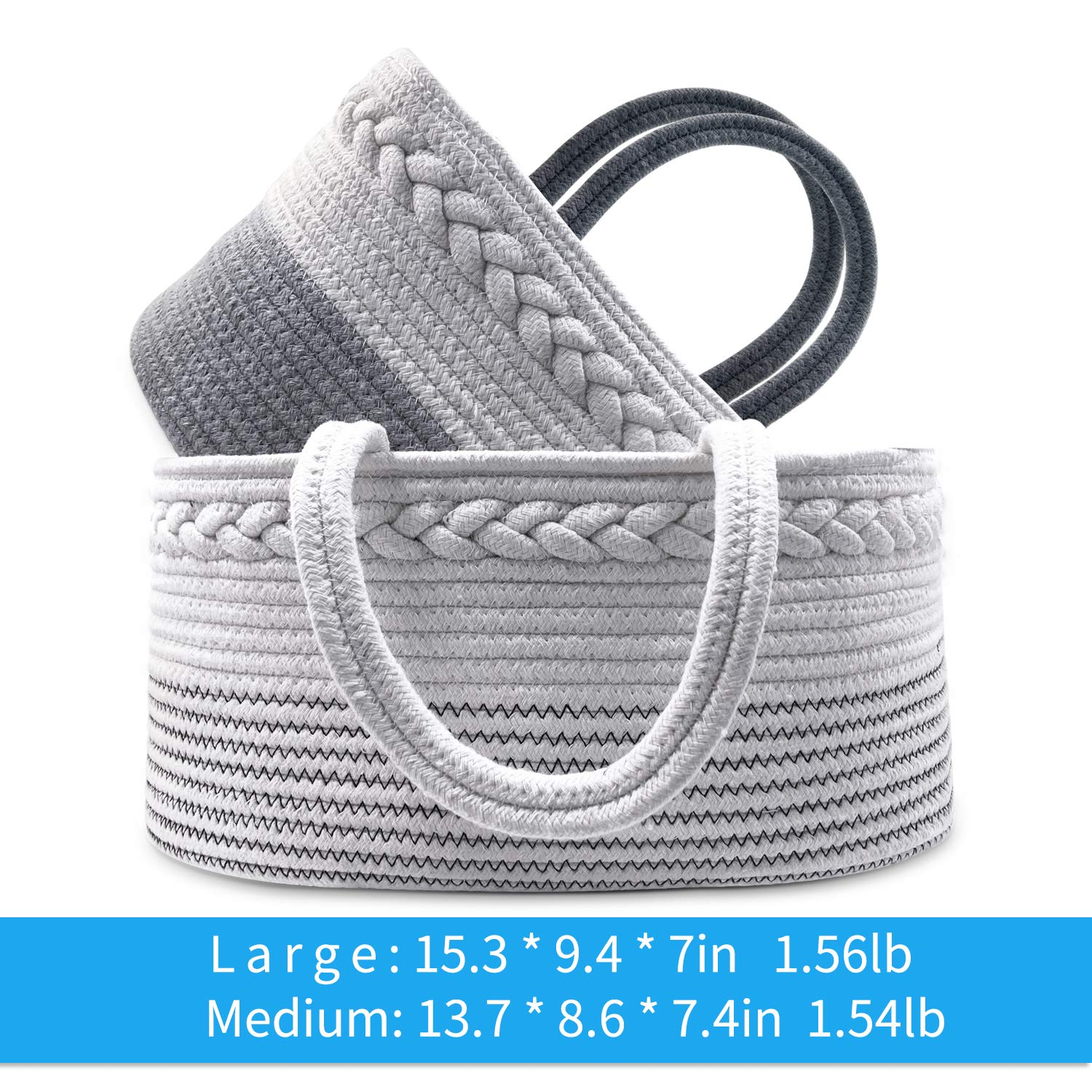 Gray//White 100/% Cotton Rope Nursery 2 Packs Baby Diaper Caddy Organizer Stylish Portable Rope Nursery Storage Bin with Removable Insert for Changing Table Baby Shower