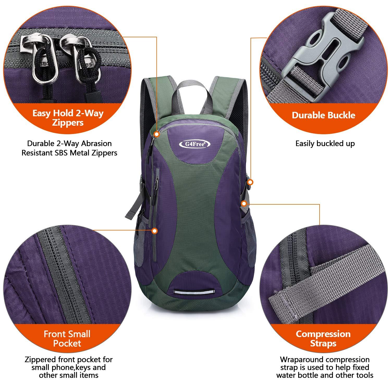 G4Free 25L Hiking Backpack Lightweight Camping Travel Causal Daypack Water Resistant Weekender Bag for Men Women