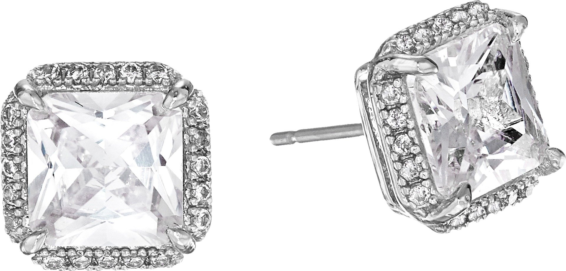 kate spade new york''Pave Princess Cut Studs'' Save The Date Pave Princess Cut Clear/Silver Stud Earrings