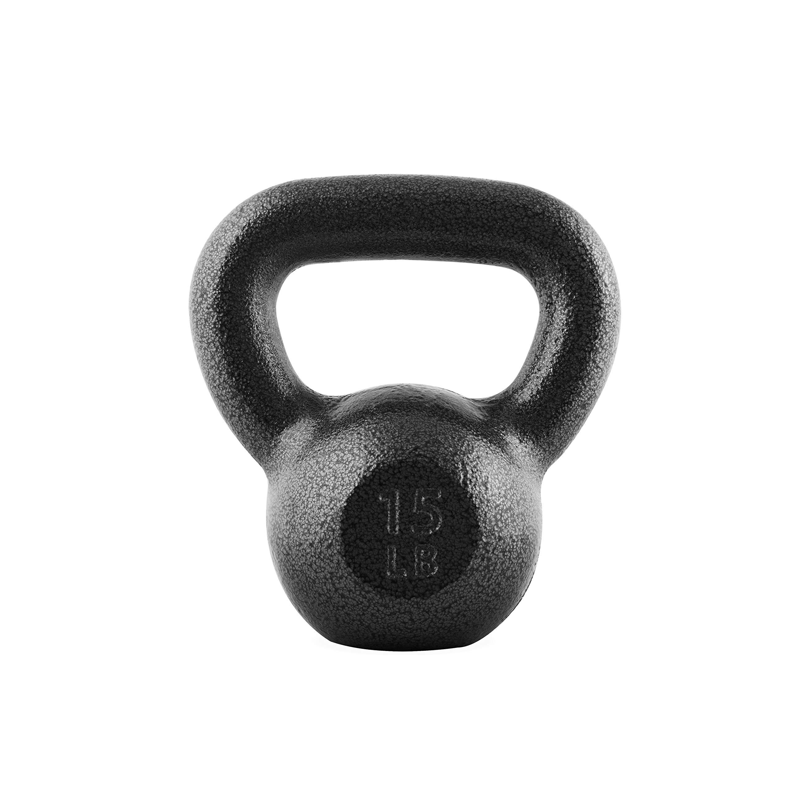 CAP Barbell SDK2B-015 Cast Iron Kettlebell, 15 lb, Black