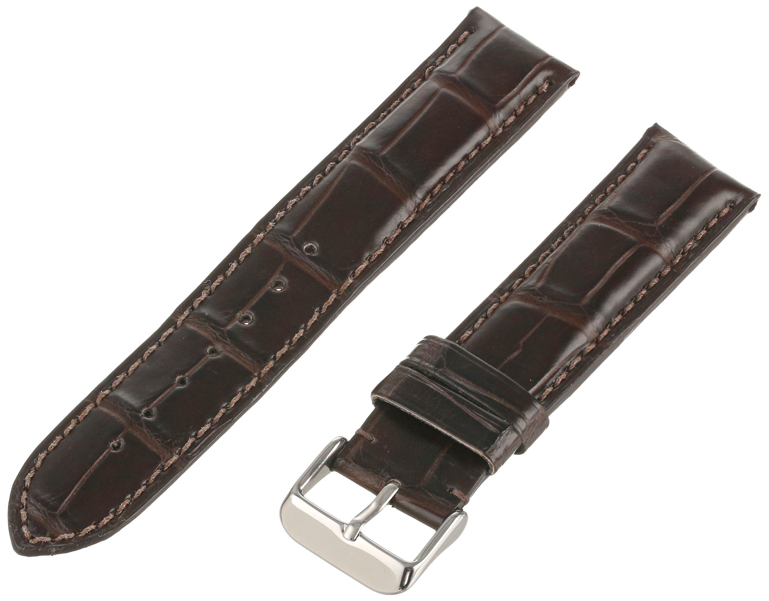 Hadley-Roma Men's MS2022RZ-200 20-mm Dark Brown Genuine Alligator Leather Watch Strap