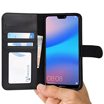 huge selection of 8d8a0 3cd61 P20 LITE Case by Abacus24-7 Compatible with Huawei P20 LITE Phone Leather  Wallet with Flip Cover, Credit Card Pockets and Stand - Black