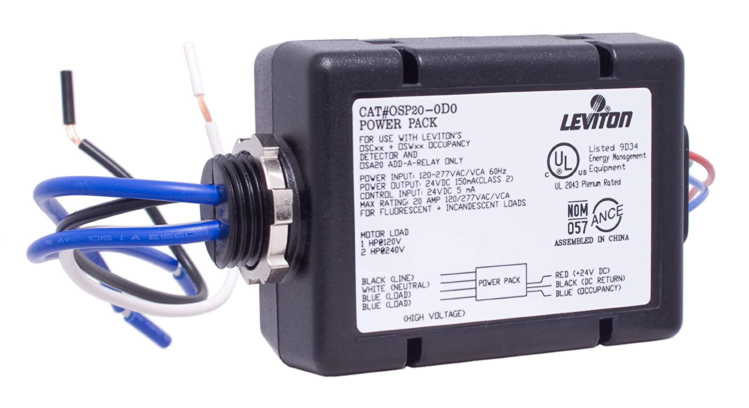 81Cz2ARRDsL._SL1500_ leviton osp20 d0 power pack for occupancy sensor, 20 amp fl inc leviton osc20 m0w wiring diagram at creativeand.co