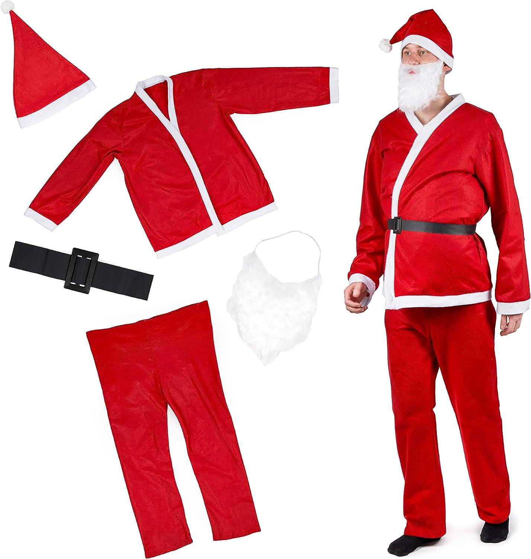 5 Piezas Traje Papá Noel para Adulto| Gorro, Cinturón, Pantalón, Chaqueta, Barba| Cálido y Cómodo de Llevar| Traje Santa Claus de Navidad, Fiesta de Disfraces.