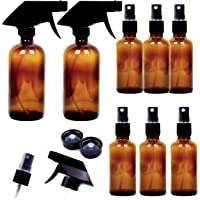 8 Pack Empty Amber Glass Spray Bottles, 2 Pack 8oz and 6 Pack 4oz Refillable Containers for Essential Oils, Cleaning Products, Aromatherapy, Durable Black Trigger Sprayer Fine Mist and Stream