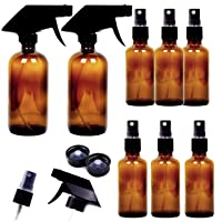 Youngever 8 Pack Empty Amber Glass Spray Bottles, 2 Pack 8 Ounce and 6 Pack 4 Ounce...