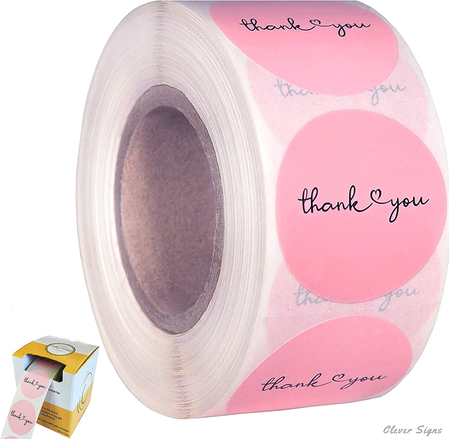 CLEVER SIGNS Thank You Stickers   1.5 inches 500 Pink Stickers   Dispenser Box   Unique Desing Thank You Stickers Roll   Great for Thank You Cards, Wedding Favors, Birthday, Baby Shower, Mailing Bags