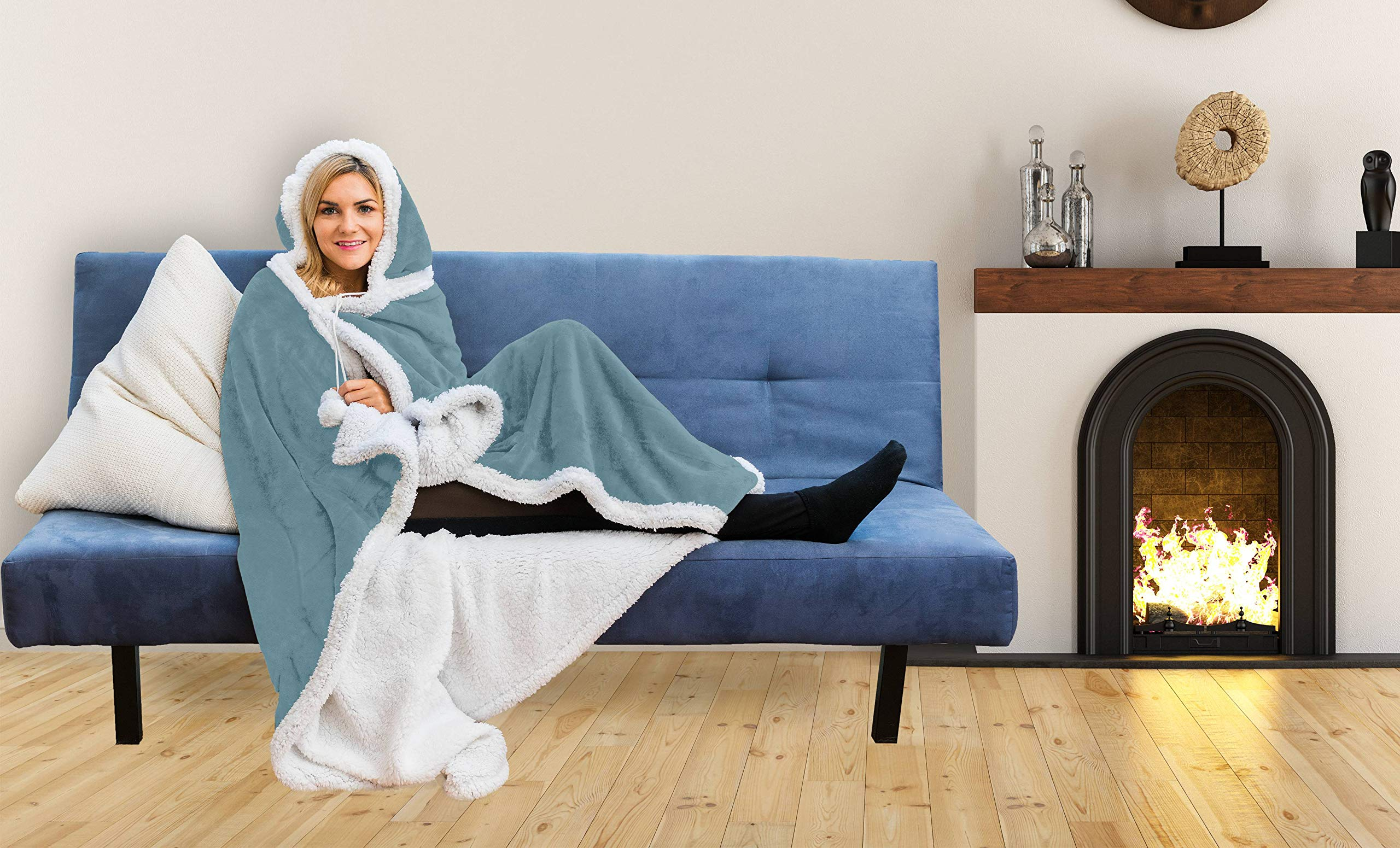 kensie. Sherpa Wearable Blanket with Pockets Super Soft Warm Comfy Large Fleece Plush Sleeved TV Throws Wrap Robe Blanket for Adult Women and Men (51x71, Leopard) (Tourmaline)