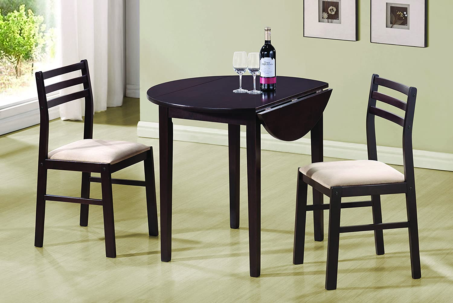 Coaster 3 Piece Dining Set Cappuccino - Table & Chair Sets Amazon.com