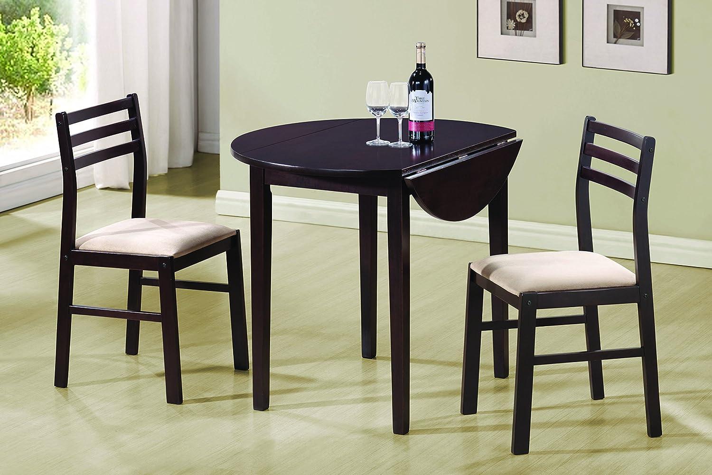 amazon com coaster 3 piece dining set cappuccino kitchen u0026 dining