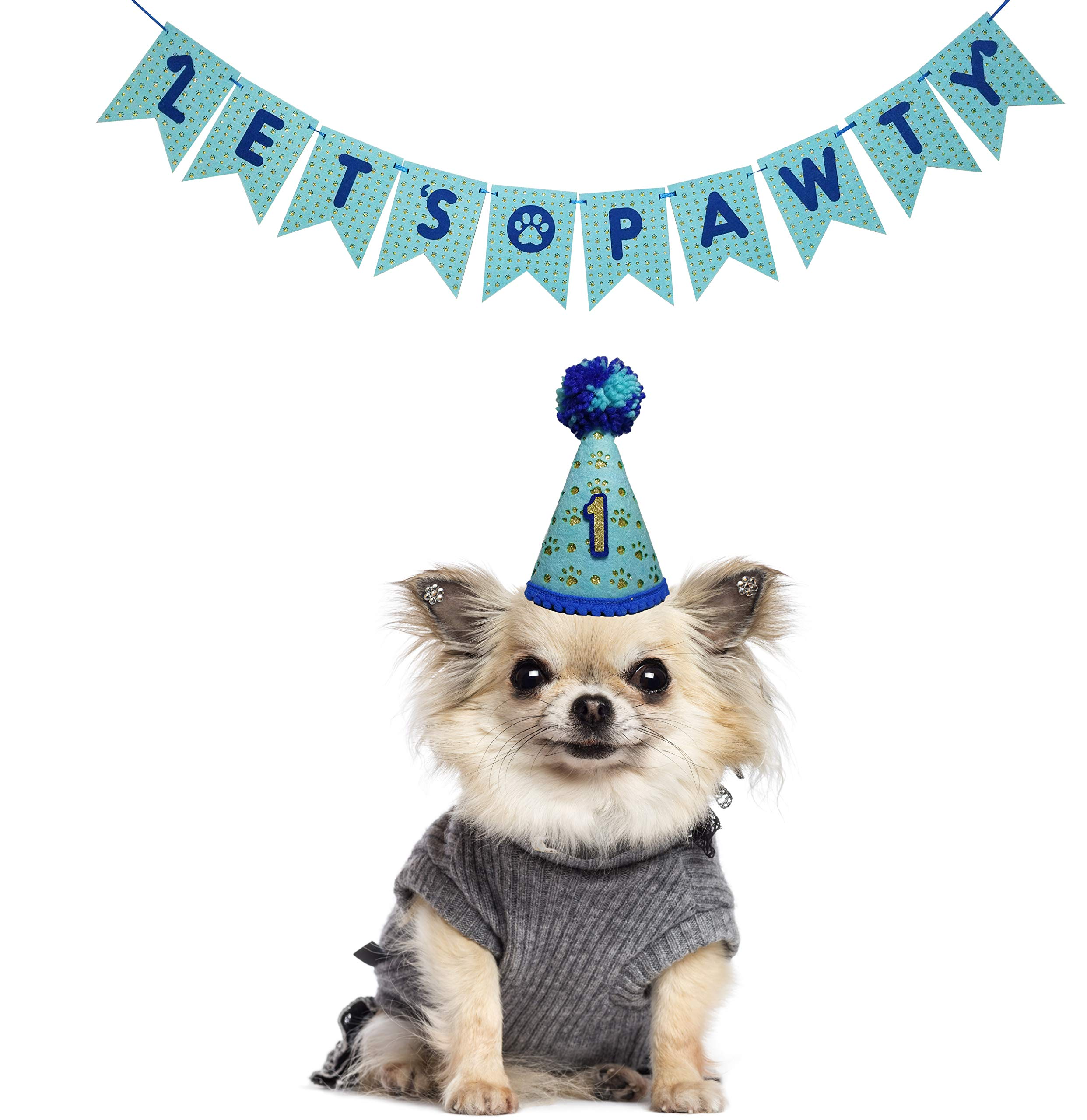 Orange Dolly Lets Pawty Dog 1st Birthday Party Decorations Blue-Puppy Dog Pals Happy Birthday Party Supplies-Pet Party Decorations Hat Banner- Kitty Cat Party Supplies-Small Dog Cat Party Decor