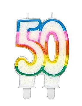 Vela de cumpleaños de dos cifras - 50: Amazon.es: Juguetes y ...