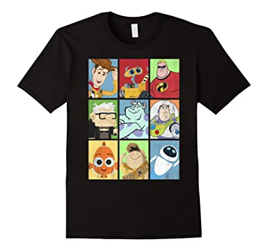 Mens Disney Pixar Epic Boxed Up Line Character Graphic T Shirt 2XL Black