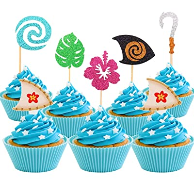30 Pcs JeVenis Glittery Moana Inspired Cupcake Toppers Moana Cupcake Toppers Birthday Party Decoration Boat Sail Swirls Hooks Hawaiian Flower Leaves for Tropical Luau Summer Party Baby Shower Wedding: Toys & Games