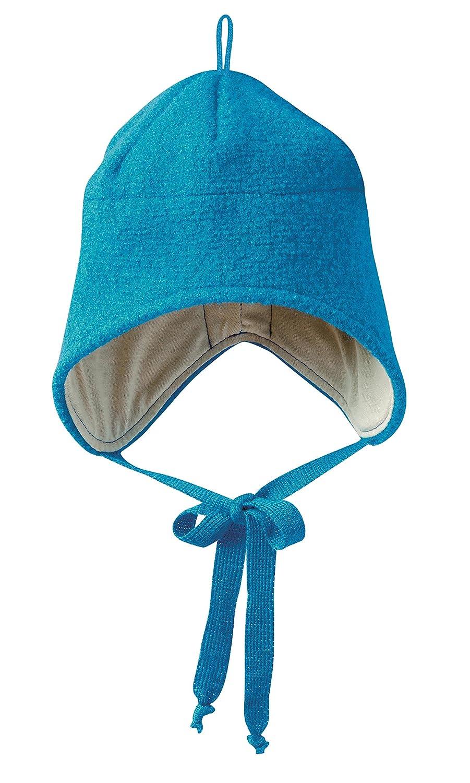 Disana 35302x x–Bonnet en laine bouillie Bleu Bleu Bleu