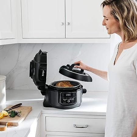 Ninja Foodi 7-in-1 Programmable Pressure Fryer, Slow Multi Cooker with TenderCrisp Technology, 5 Pot, 3-qt. Air Fry Basket (OP101), 5-Quart, ...