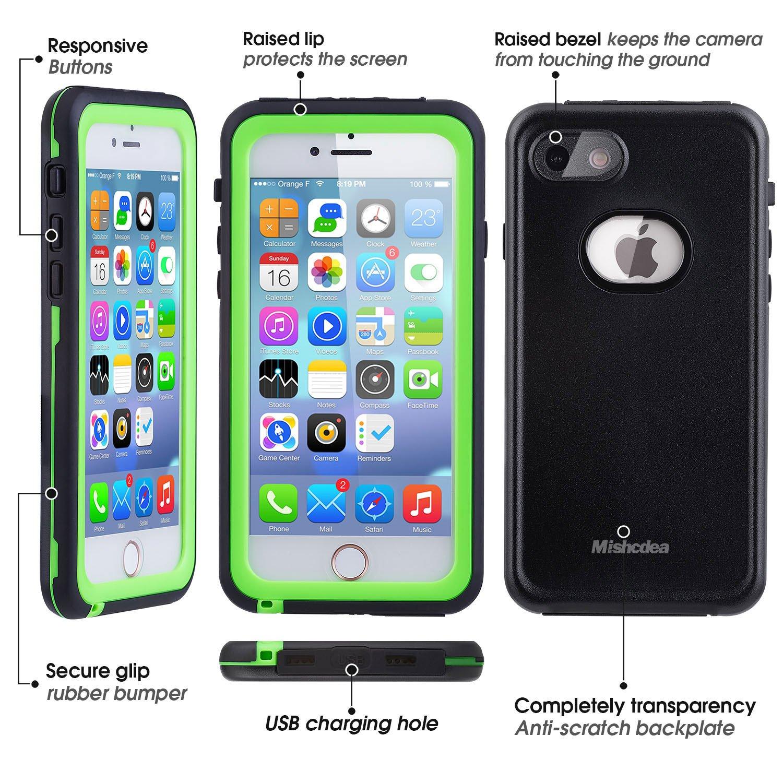 Mishcdea Funda iPhone 7/8 Impermeable, Carcasas IP68 Waterproof para iPhone 7/8 con Protector de Pantalla Incorporado (Verde)