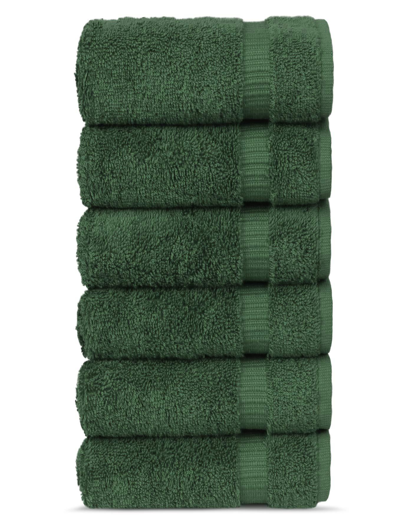 Chakir Turkish Linens Turkish Cotton 16x30 Luxury Hotel & Spa 6 Pack Hand Towel, Moss