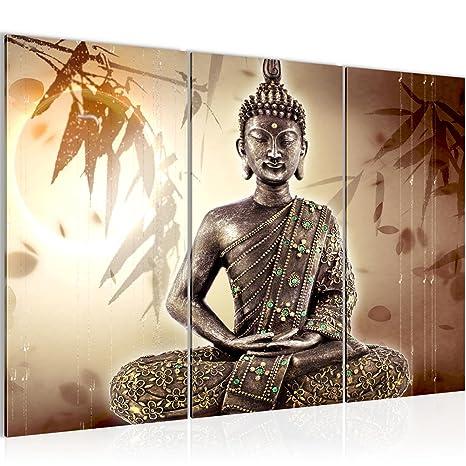 Bilder Buddha Wandbild 120 x 80 cm Vlies - Leinwand Bild XXL Format  Wandbilder Wohnzimmer Wohnung Deko Kunstdrucke Braun 3 Teilig - MADE IN  GERMANY - ...